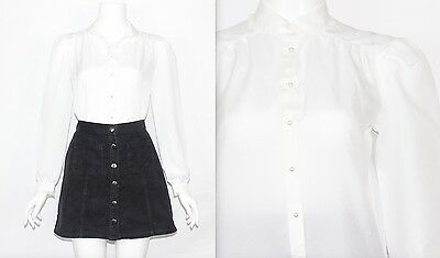 Vintage 1980's White FRILL LACE PETER PAN COLLAR CUFFS Long Sleeve Blouse Small