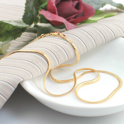 18k Gold Filled Strong Flat Chain Necklace with Lobster Claw Clasp 45 cm- XP1118