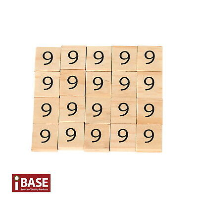 20x Wooden Number Nine Scrabble Tiles Scrapbooking Handcraft Letter set Formular