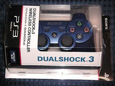 NEW SONY Official PlayStation 3 Metallic Blue Dual Shock Wireless Controller F/S