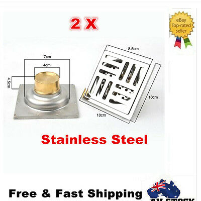 2x Stainless Steel Square Floor Waste Grates Bathroom Shower Drain 10*10CM New