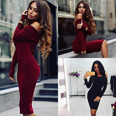 Womens Sexy Autumn Winter Long Sleeve Knit Bodycon Sweater Mini Dress Knitwear