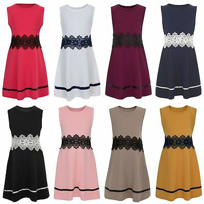 Girls Textured Skater Lace Waist Dress Casual Sleeveless Party Top Skirt 3-14 Y