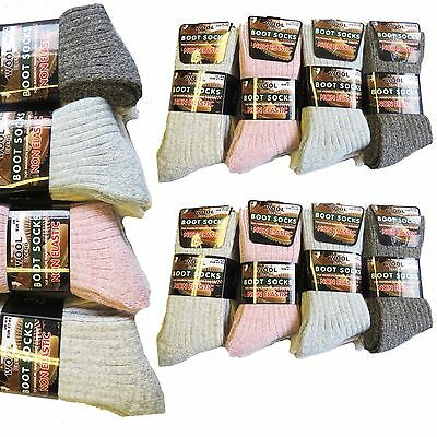 Womens Wool Blend Thermal Non Elastic Diabetic Cushioned Boot Socks 3-6-12 packs