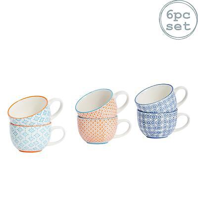 Cappucino Coffee Tea Latte Cups. Patterned Porcelain - 3 Designs - 250ml x6