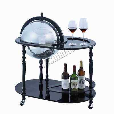 FoxHunter Globe Mini Bar Trolley With Table Drinks Cabinet Bottles 420MM Black
