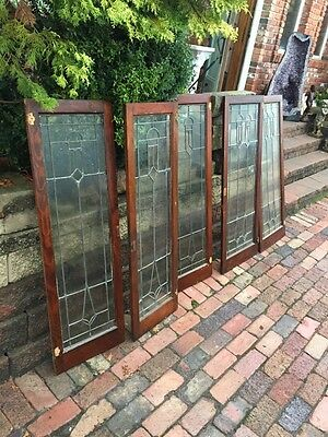 Sg 854 Match Set A Five Cabinet Doors Leaded Glass Antique