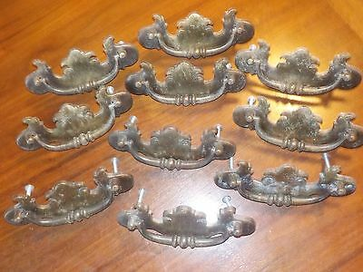 "10 Furniture Pulls VINTAGE BRASS FRENCH PROVENCIAL art deco handles 4"" antique"