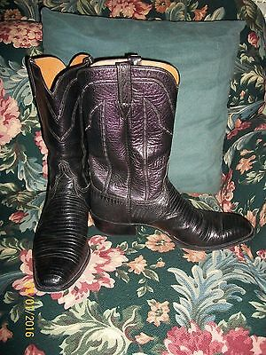 Men's Vintage Lucchese San Antonio Teju Lizard Cowboy Boots French Toes 14 B
