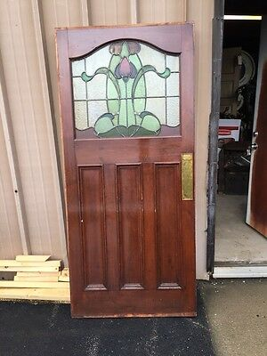 "Cm 78 Antique Stainglass Door 34"" X 75"" X 1 And Five Eights Inch Thick"
