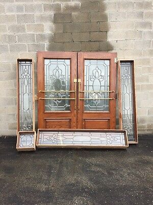 Cm 79 One Double Door Entrance Set Beveled Glass With Side Lights And Trim
