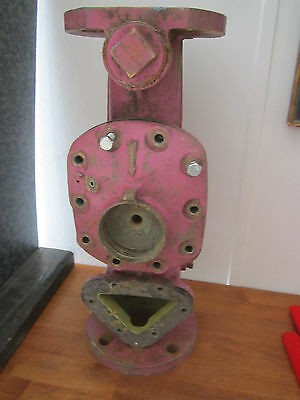 "old water meter solid brass housing 19"" tall umbrella stand steampunk 47 lb"