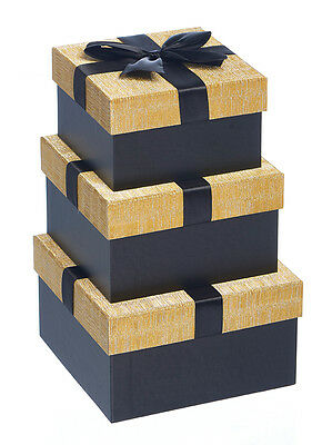 Luxury Gift Boxes-Nest of 3 Gold & Black - Black Ribbon/Bow -GBB073 - Stunning