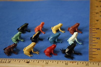 Set of MINIATURE tiny plastic toy or craft FROGS~LOT 12 amphibian multi colors