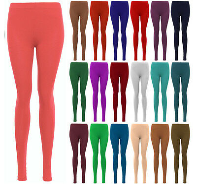 1s Women's Legging Ladies Plain Stretchy Viscose Full Length Leggings Plus 8-26