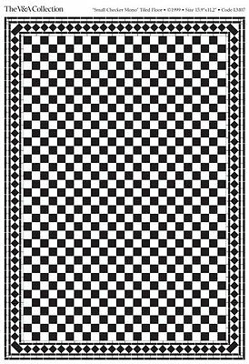Dolls House Black & White Square Floor Tiles card  in 12th scale