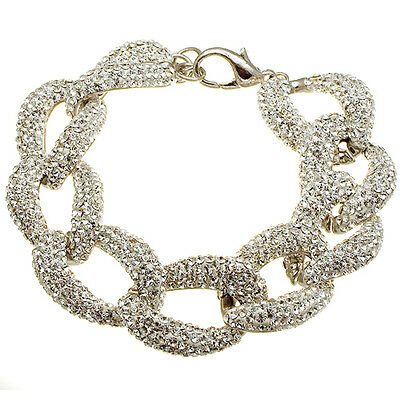 Wholesale Large Curb Chain Sterling Silver Inset Clear CZ Stone Bling Bracelet