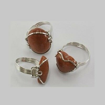 Bulk Lot 6 Wholesale Aventurine Gold Stone Gemstone Silver Plated Wrap Rings