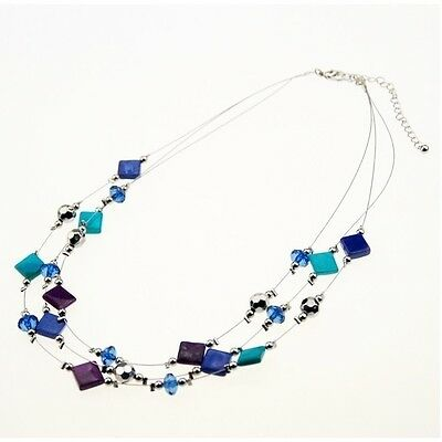 Wholesale Lot 6 Silver Tone Shell & Faceted Crystal Bead Triple Strand Necklaces