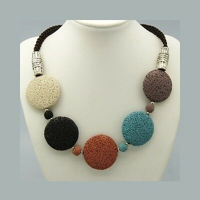 Wholesale Lot 4 1960's Mod Bohemian Necklace with Dyed Lava Pumice Beads