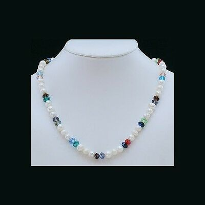 Wholesale Lot 6 Freshwater Pearl & Multi-Colored Faceted Crystal Bead Necklaces