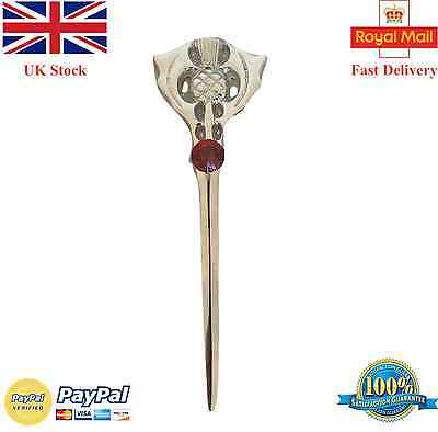 New Scottish Thistle Kilt Pin Red Stone Chrome Finish/Kilt Pins/Pin Brooch Stone
