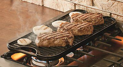 Cast Iron Griddle Stovetop Grill 2 Burner Stove Top Commercial Cover Reversible