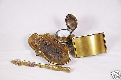 Antique Jennings Brothers Heavy Brass Inkwell Desk Set Numbered