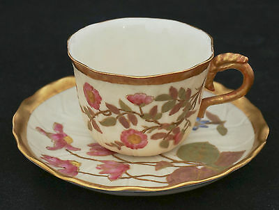 1890  Royal Worcester Ivory Cup Saucer Enameled Heavy Gold Apple Blossom