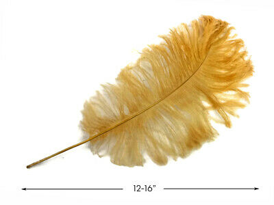 """10 Antique Gold Ostrich Tail Large Feathers Centerpiece Halloween Costume 12-16"""""""