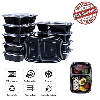10 pc Meal Prep Containers Food Storage 2 Compartment Set Lids Reusable BPA Free