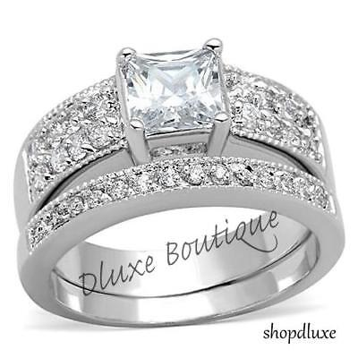 2.50 Ct Princess Cut AAA CZ Stainless Steel Wedding Ring Set Women's Size 5-10