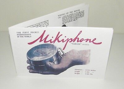 Mikiphone Pocket Phonograph Gramophone Instruction Manual Reproduction