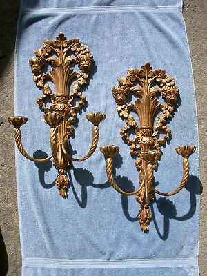"""Elegant PAIR Italian Carved Giltwood Classical 3-arm Sconces, Candleholders 22"""""""