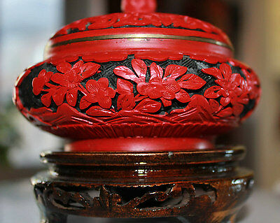 Chinese Floral Carved Cinnabar Lacquer Enamel Bowl Box Amazingly Beautiful!!!!