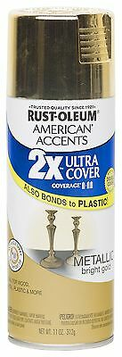 Rust Oleum 280724 American Accents Ultra Cover 2X Spray Paint, Metallic Gold NEW