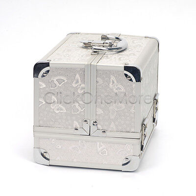 Silver Aluminum Butterfly Beauty Box Cosmetic Makeup Jewelry Saloon Case