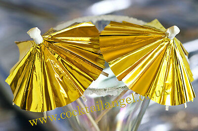 CHRISTMAS DRINK DECORATIONS( GOLD  FOIL COCKTAIL UMBRELLAS)x 50