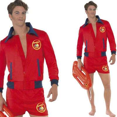 Mens Baywatch Fancy Dress Lifeguard Costume - Official Licenced 90s Outfit
