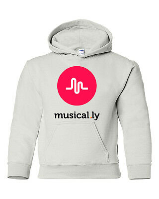 Musical.ly Graphic white hoodie  sweatshirt youth size  S M L XL T-73H