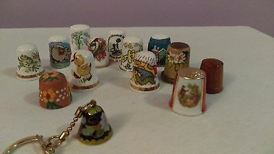 Thimble collection Porcelain wood clay 13 thimbles