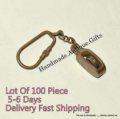 Brass Nautical Pully Key Chain Maritime Vintage Key Ring