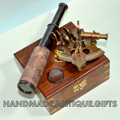 Marine Maritime Nautical Collectible Solid Brass Sextant With Wooden Box