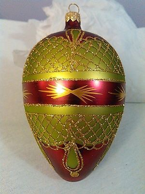 Glass Christmas Ornament Faberge Egg Shaped Red Green