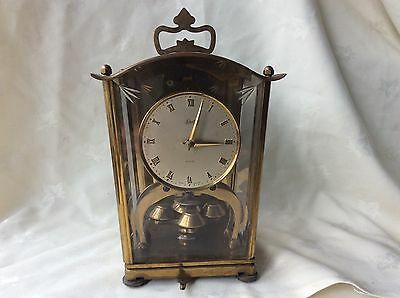 VINTAGE GERMAN SCHATZ Brass Carriage Mantle Clock. Overwound