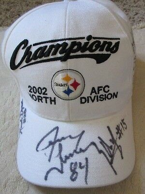 Rare Pittsburgh Steelers 2002 Afc North Division Cap With 4 Autos Mark Bruener