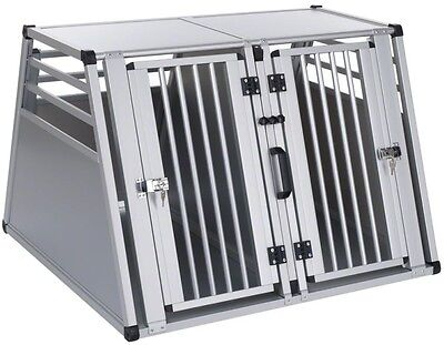 Safe Comfortable Strong Durable Light Aluline Double Dog Crate Large 97x92x68cm