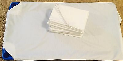 6 White Daycare cot sheets Toddler size 40x22 elastic all 4 sides