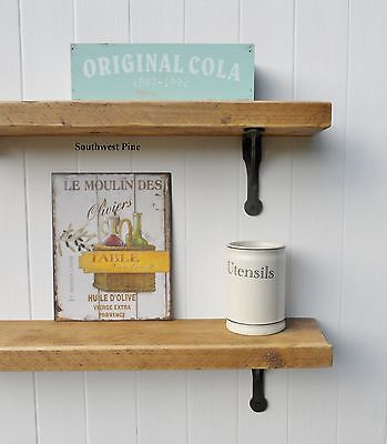 Old Pine Wooden Vintage Industrial Style Shelf With Cast Iron Brackets