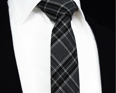 Mens Scottish Tartan Tie Skinny Slim Grey Black White Check Free Hanky 401-12